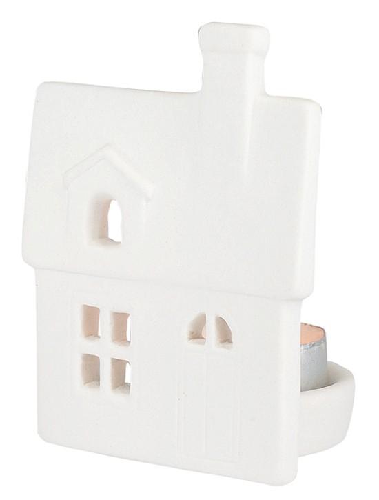 Porzellan-Figur Haus mit Dachfenster - mit Teelicht
