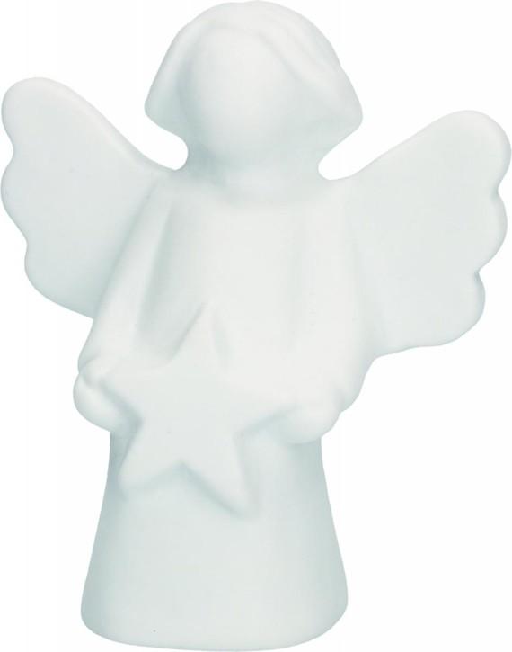 Figur Engel mit Stern aus Porzellan