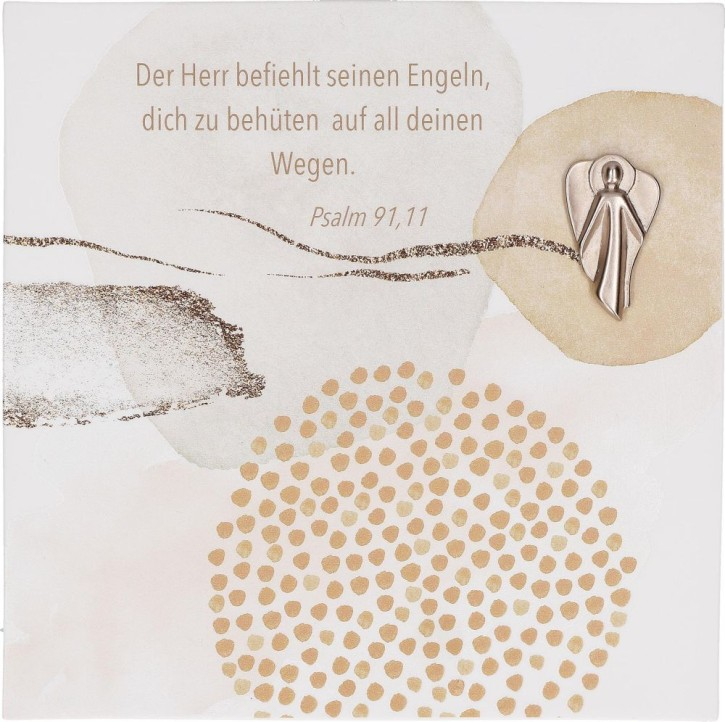 Porzellantafel mit Feinmetall-Engel - Schutzengel