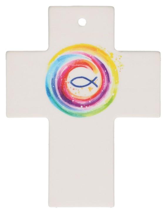 Porzellankreuz - Gott behüte dich
