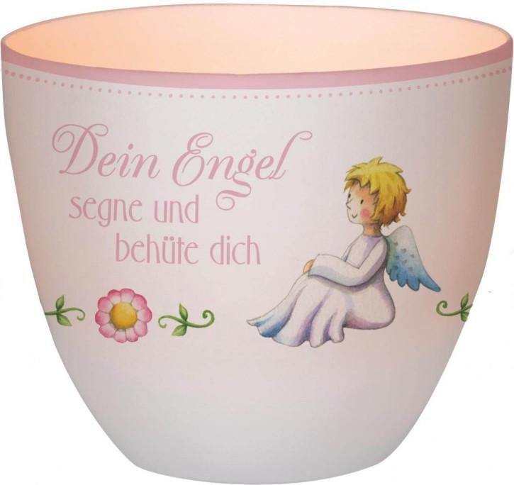 Windlicht aus Porzellan für Mädchen - Dein Engel segne und behüte dich