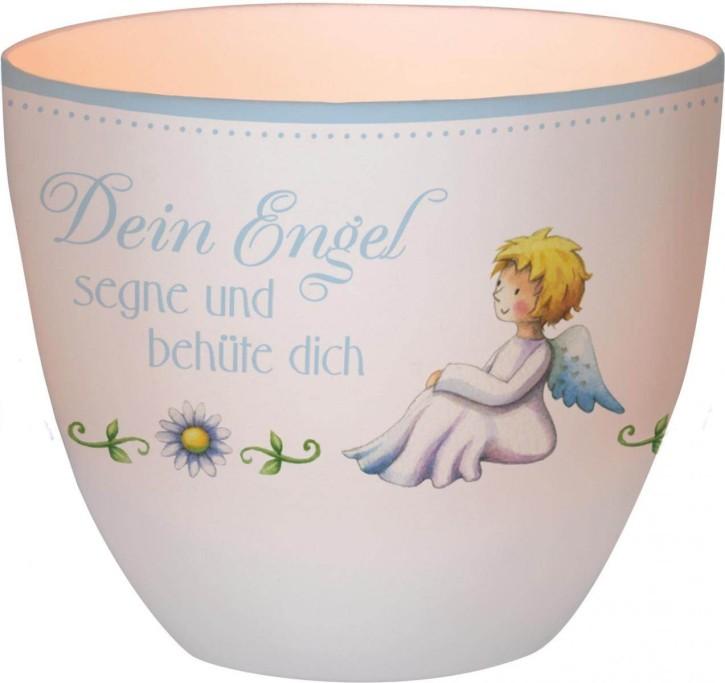 Windlicht aus Porzellan für Junge - Dein Engel segne und behüte dich