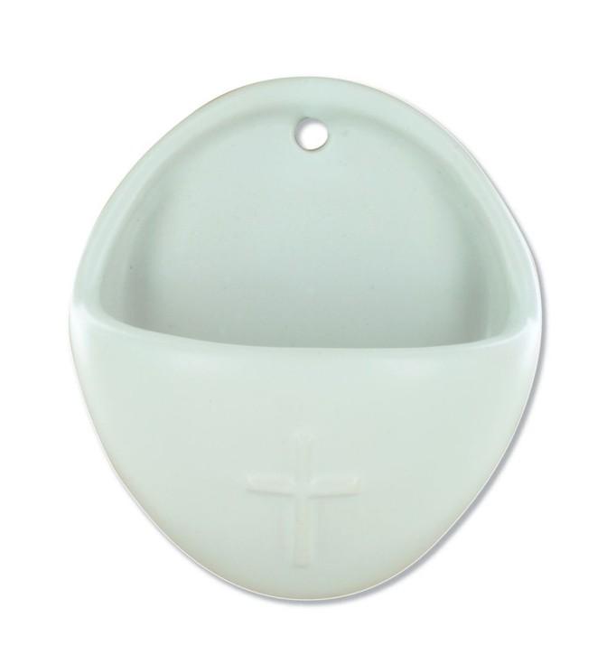 Keramik-Weihwasserbecken Kreuz - weiß