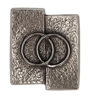Kreuzplakette Eheringe aus Neusilber