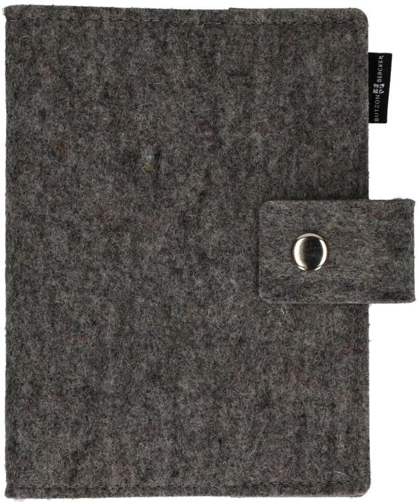 Gotteslob-Buchhülle aus graumeliertem Wollfilz mit Druckknopf