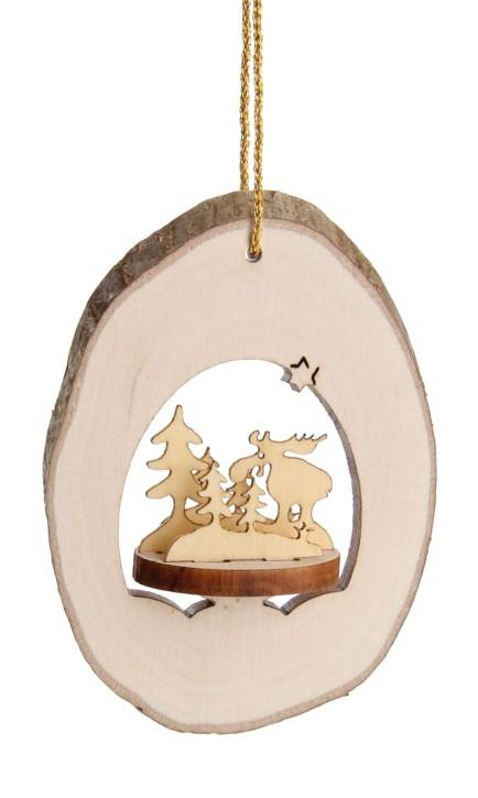 Christbaumschmuck Astholzhänger - mit Motiv Elche im Wald