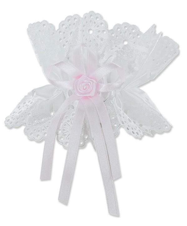 Kerzentropfschutz mit Schleife und rosa Rose