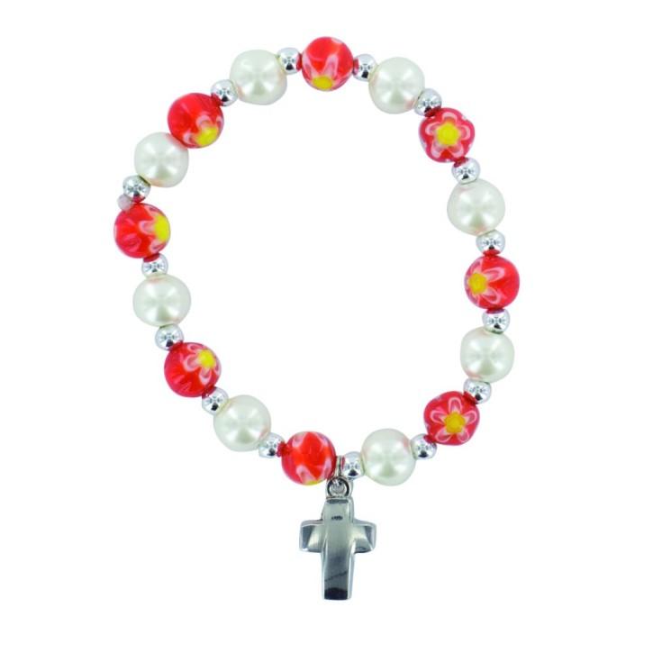 Armband mit roten Blumenperlen und Metallkreuz