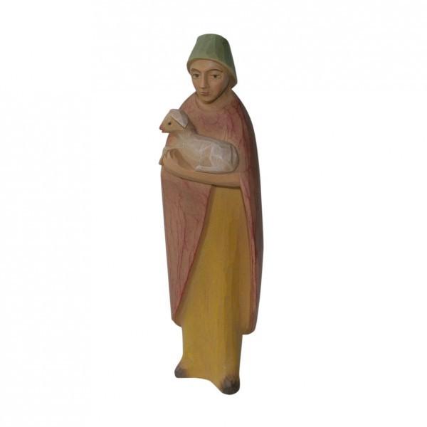Krippenfigur Hirte, stehend, mit Lamm