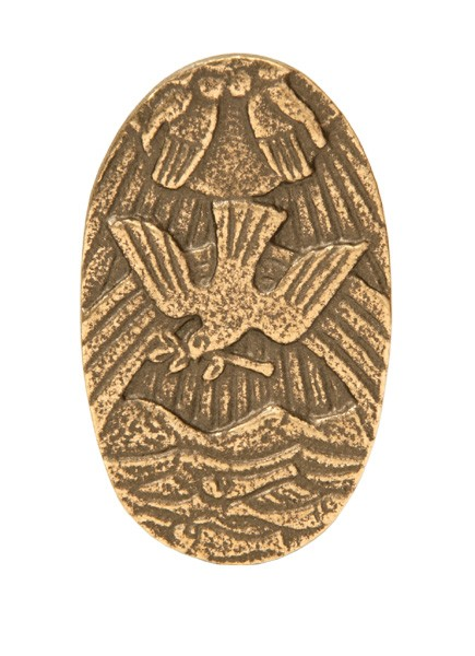 Handschmeichler aus Bronze: Regenbogen/Taube