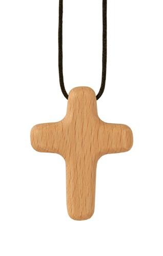 Halskreuz, Buche lackiert, mit Baumwollschnur