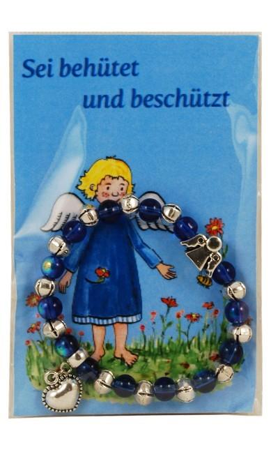 """Armband blau, auf Karte """"Sei behütet und beschützt"""""""