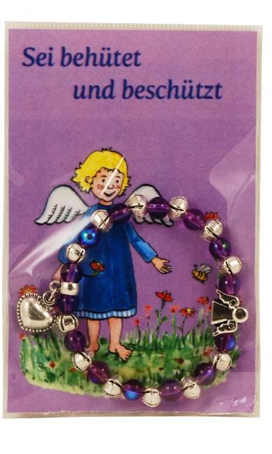 """Armband lila, auf Karte """"Sei behütet und beschützt"""""""