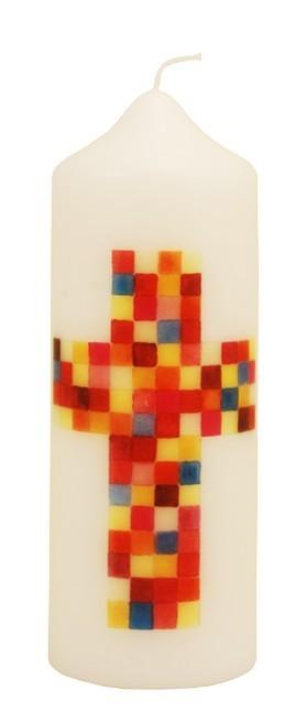 Kerze Kreuz bunt