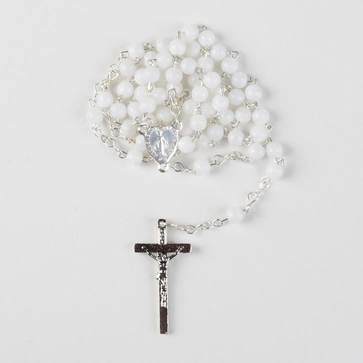 Rosenkranz aus Kunstoff mit weißen Perlen - Größe: 37 cm
