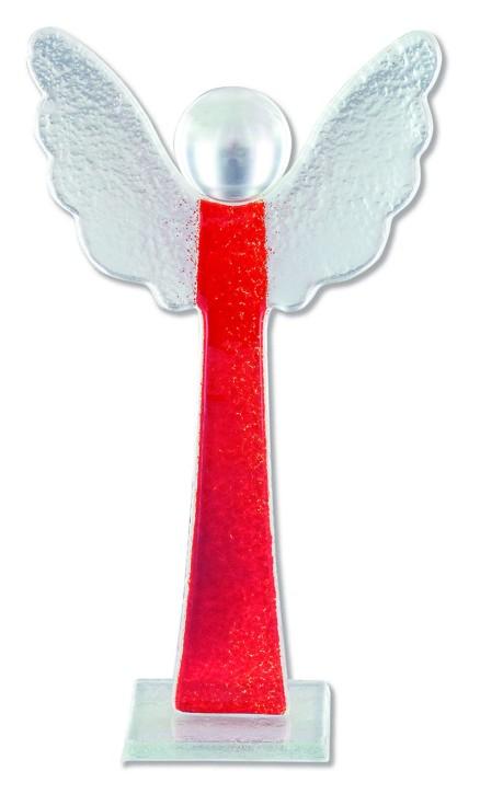 Glasfigur Engel mit Glaskugel