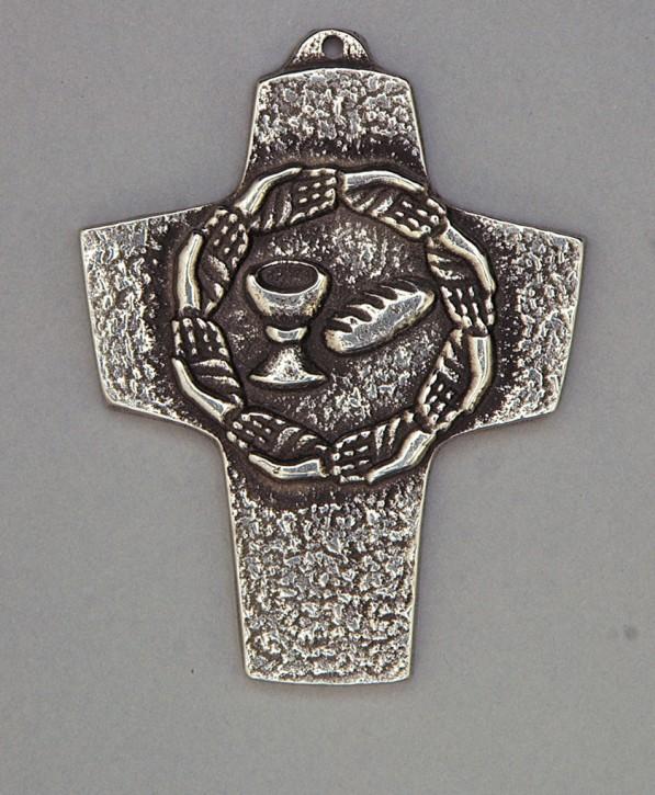 Kommunionkreuz aus Neusilber - Brot und Wein