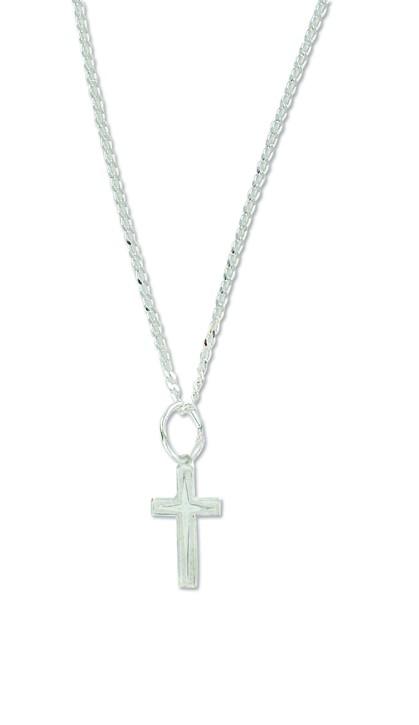 Kreuzanhänger an Kette mit Schließe aus Sterlingsilber