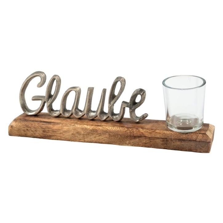 Schriftzug - Glaube - mit Teelichtglas