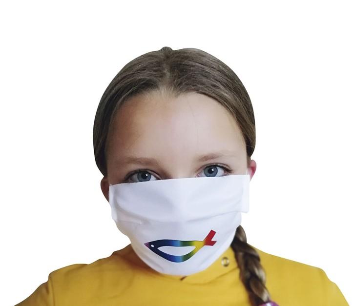 Mund-Nasen-Maske mit Fisch-Symbol