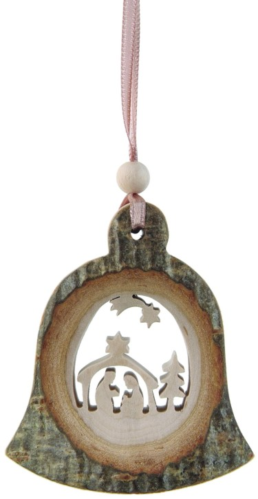 Rindenhänger Glocke - mit Motiv Krippe
