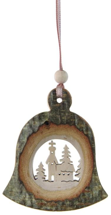 Rindenhänger Glocke - mit Motiv Kirche
