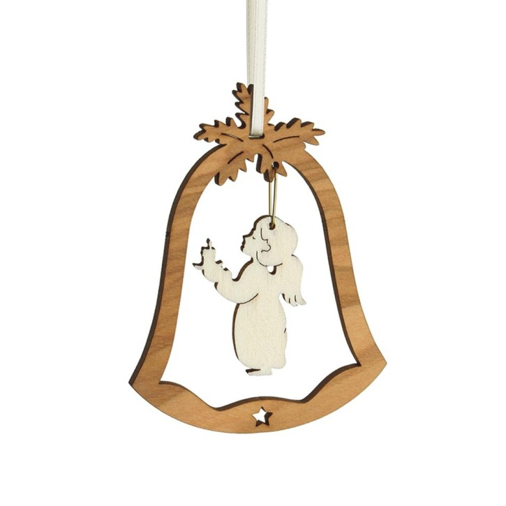 Christbaumschmuck Glocke - mit Motiv Engel mit Kerze