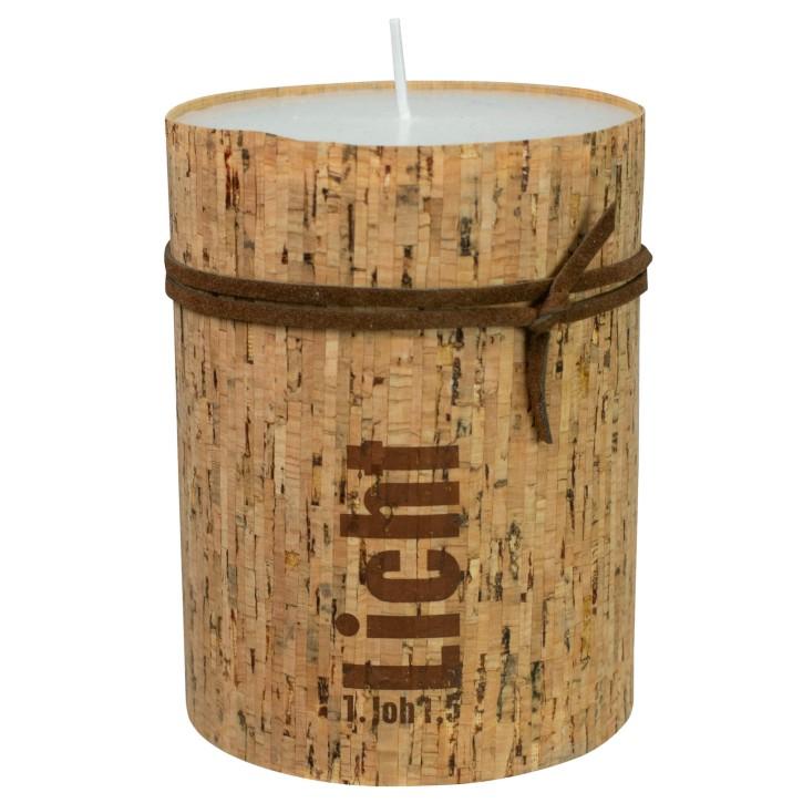 Kerze mit Korkummantelung