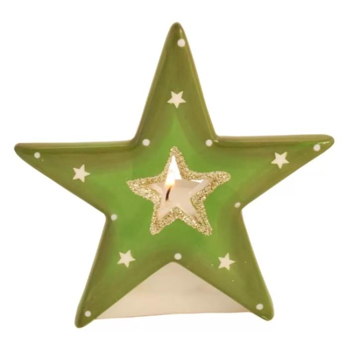 Teelichthalter Stern grün
