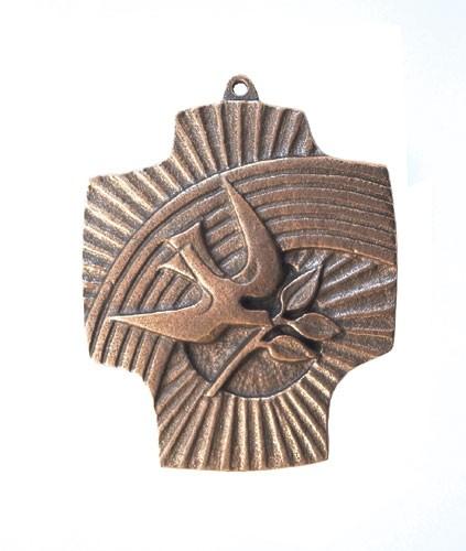 Bronzekreuz Regenbogen / Taube