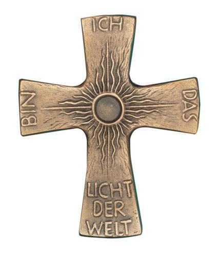 Kreuz Sonne mit Text Ich bin das Licht der Welt