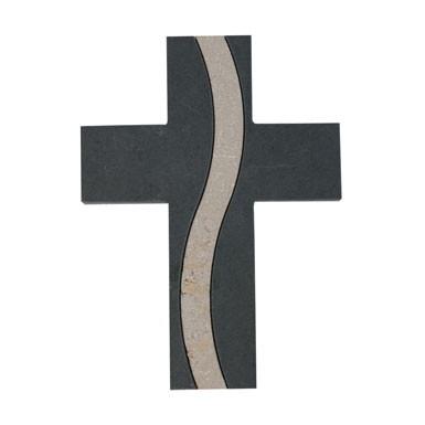 Schmuckkreuz Schiefer mit Einlage aus Jura-Marmor
