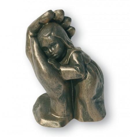 Steinguss-Figur Bleib sein Kind, bronzefarben