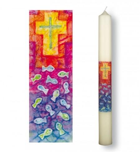 Taufkerze mit Motiv Kreuz und Fische