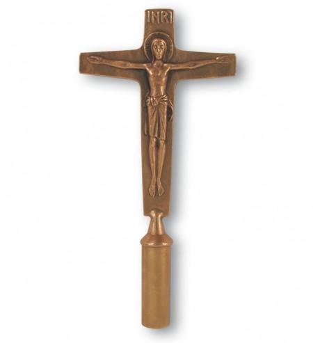 Vortragekreuz Bronze - Größe 38 cm / Stab 200 cm