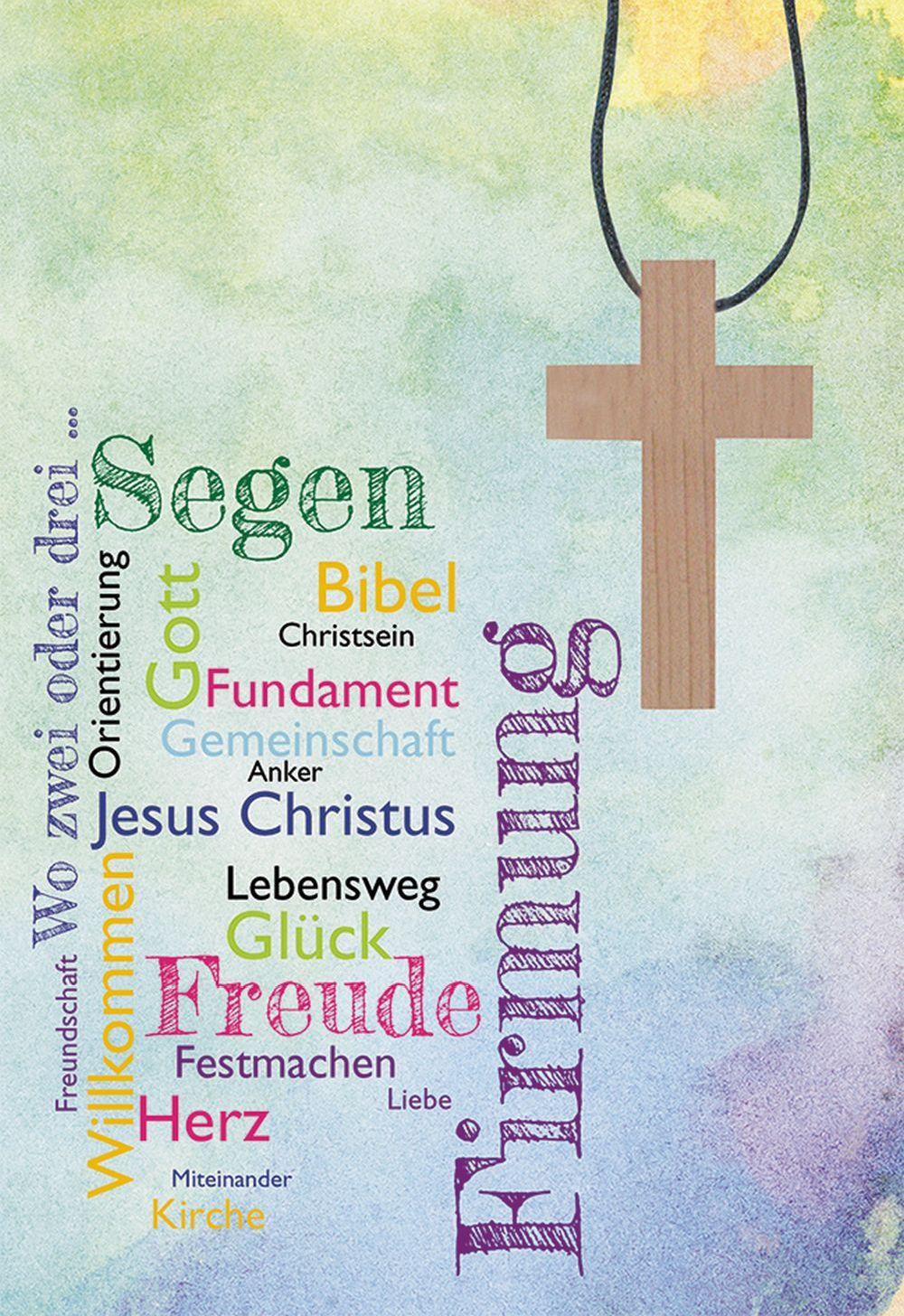 Glückwunschkarte mit Kreuz-Holzanhänger auf Textilband Firmung