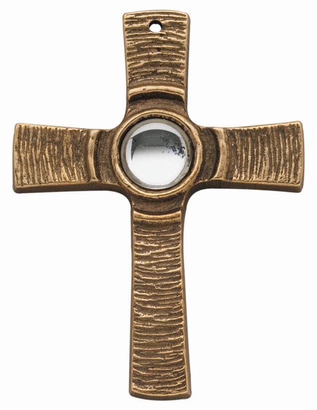 Kommunionkreuz - Bonzekreuz mit klarem Stein