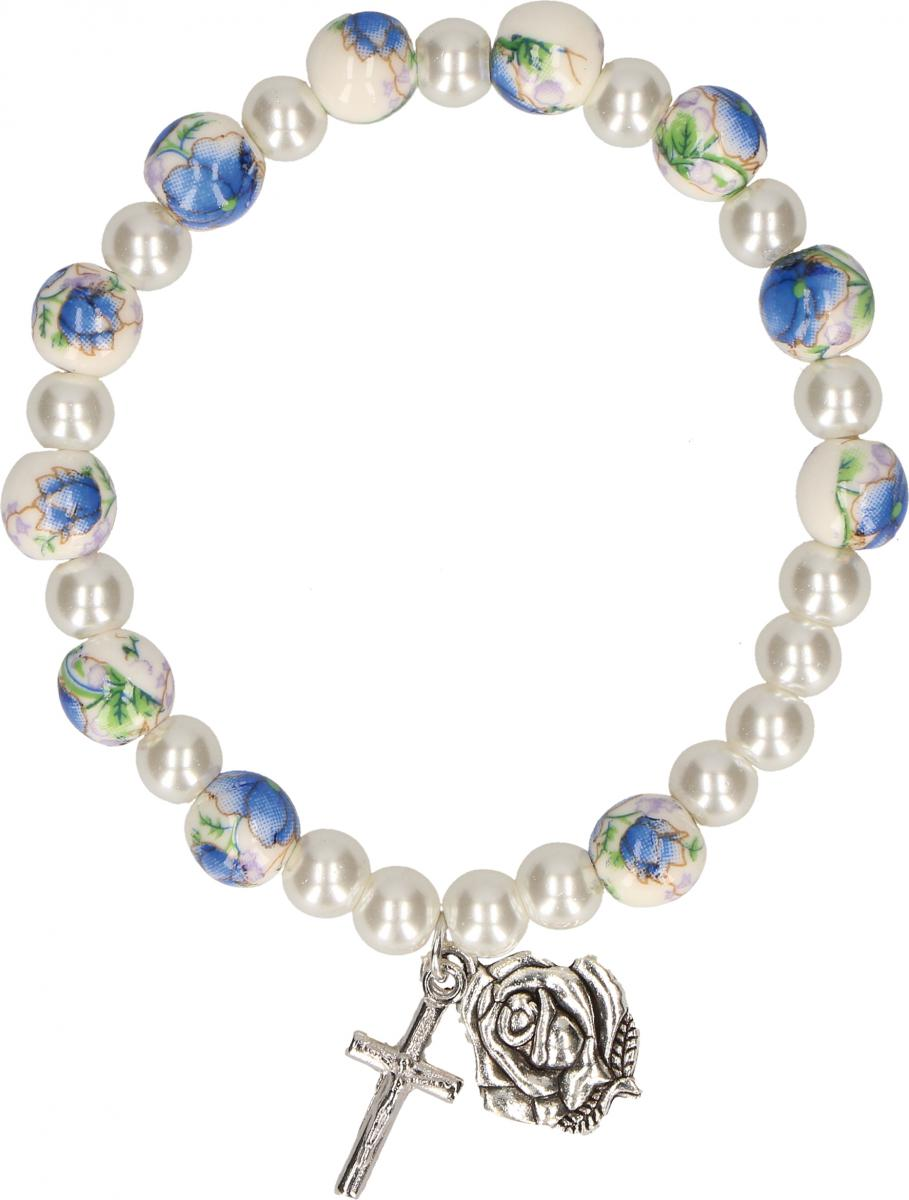 Kunststoff-Armband mit bemalten Perlen
