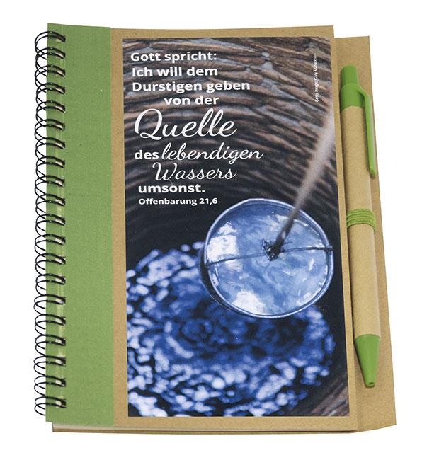 Notizbuch mit Kuli Brunnen mit Jahreslosung 2018