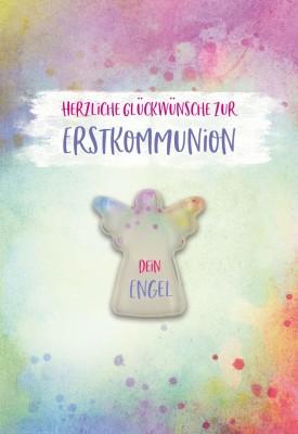 Glückwunschkarte mit Glasmagnet Herzliche Glückwünsche zur Erstkommunion