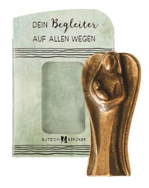 Schutzengel aus Bronze - Figur mit Kind