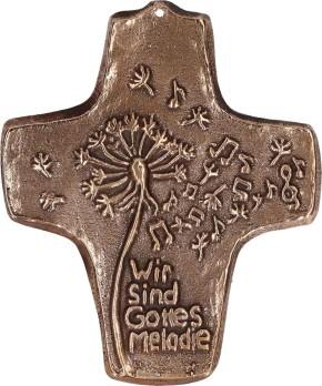 Kommunionkreuz aus Bronze - Wir sind Gottes Melodie