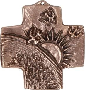 Kommunionkreuz aus Bronze - Schöpfung