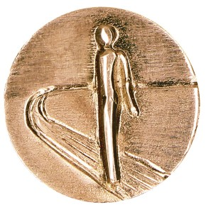 Plakette aus Bronze Auf dem Weg