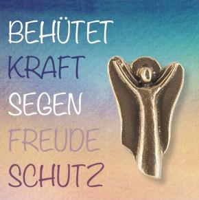 Engel-Plakette aus Bronze - Behütet, Kraft, Segen, Freude, Schutz
