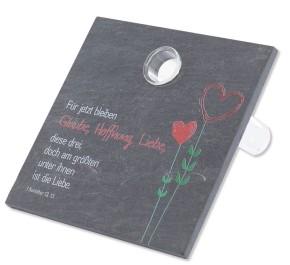 Schieferrelief Glaube, Hoffnung, Liebe - mit Vase aus Glas