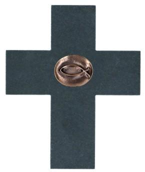 Schieferkreuz mit Fisch-Bronzeplakette