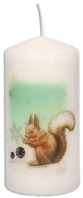 Stumpenkerze Weihnachten - Eichhörnchen