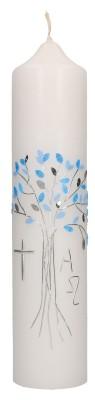 Taufkerze mit aufgelegtem Wachsmotiv - hellblauer Baum mit Kreuz, Alpha und Omega