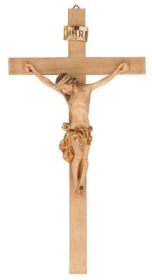 Holzkreuz mit Holzkorpus koloriert